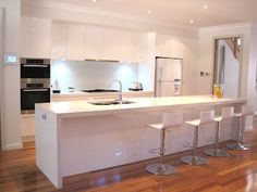 White modern kitchen, breakfast bar, island, stools, glass splashback