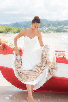 St. Lucia beach wedding, Sierra Gown from Truvelle