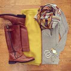 Mustard Pencil Skirt, Striped Top, Plaid Blanket Scarf, Brown Boots