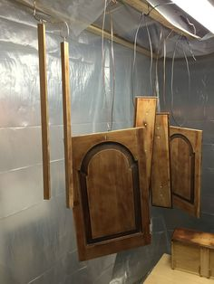 How to Easily Build a DIY Paint Spray Booth - Old Town Home: hang items from above, so you don't have to let them dry on the floor or a rack. Saves time as you can paint 2 sides at once too.