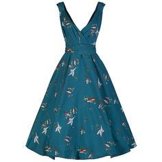 Teal Bird Print Swing Dress