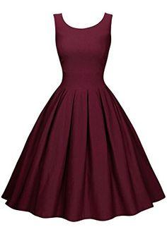 Miusol Damen Elegant Rundhals Traegerkleid 1950er Retro Cocktailkleid Faltenrock Kleid weinrot Groesse L