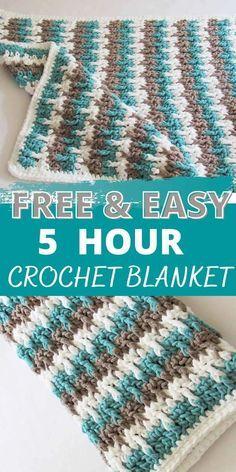 Striped Crochet Blanket, Crochet Baby Blanket Free Pattern, Baby Afghan Crochet, Afghan Crochet Patterns, Simple Crochet Blanket, Crocheted Baby Blankets, Knitted Throw Patterns, Crochet Blanket Tutorial, Crochet Blanket Border