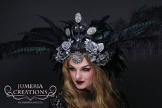 READY TO SHIP - One of a kind! Hand-made and huge headpiece with a variety of flowers, feathers and beautiful painted faux horns (which are