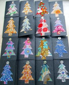 Christmas cards -- fabric scraps and buttons - PAPER CRAFTS, SCRAPBOOKING & ATCs (ARTIST TRADING CARDS)