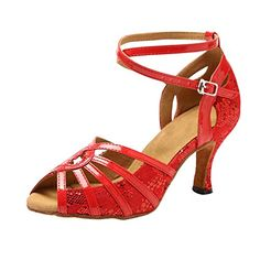 Minitoo GL227 Womens Cross Strap Red Lace Latin Tango Ballroom Professional Dance Shoes Wedding Prom Sandals 9 M US >>> Details can be found by clicking on the image.(This is an Amazon affiliate link)