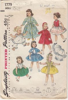 "Binnie Sweet Sue 15"" Doll Sewing Pattern Simplicity 1779 Wardrobe Party Dress"