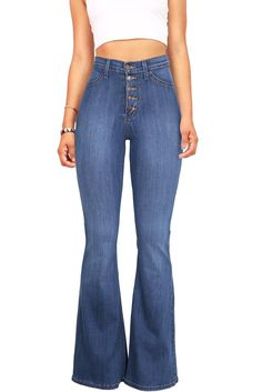 """High rise fitted bell bottom jeans with a multi-button closure. Faux front pocket detail.Comfortable and super stretchy denim material. *Machine Wash Separately *68% Cotton 24% Modal 7% T400 1% Spandex*44""""/112cm Top to Bottom 32""""/ 81 cm Inseam (model is 5'5"""" and is wearing a size 5)*Refer to Bottoms Size Chart #1*Made in USA"""