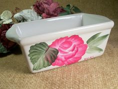 White Ceramic Dish, Hand Painted Roses, Pink Flower, Trinket Dish, Dressing Table Tray, Soap Dish, Nightstand Dish, Vanity Table Caddy via Etsy