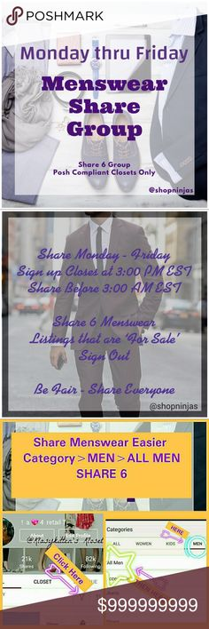 Welcome to our PCC Menswear Share 6 Group Welcome to our PCC Menswear Share Group 👔Tag your name below if you'd like to be added to this tag list! 👔Official Share List is Posted Mon - Fri after 3:00 PM EST. Sign out & complete shares before 3:00 AM EST (Check time zone slide for your local time) 👔If you have Men's listings & are a POSHMARK COMPLIANT CLOSET we'd love to share w/you. Please share only 'For Sale' Listings from each players closet, if a player has less then 6 listings please…