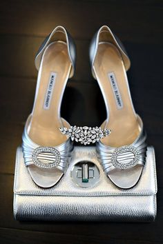 Glamorous Manolo Blahnik heels, a Tiffany clutch and a stunning tiara by Elsa Corsi on http://WedOverHeels.com | Photo by http://angelahubbard.com