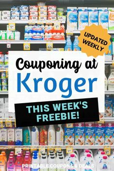 Find out what this week's freebie is at Kroger! How to coupon at Kroger and maximize savings Digital Coupons, Printable Coupons, Printables, Store Coupons, Grocery Coupons, Ways To Save Money, Money Saving Tips, Baby Coupons, Bookmark This Page