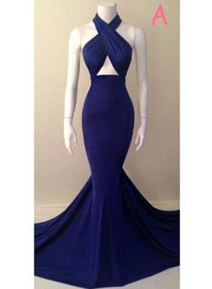 Blue Sexy Mermaid 2017 Evening Dresses Sleeveless Glorious Court Train Gowns