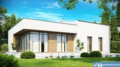 A Modern House m²) With a Flat Roof, Functional Interior With a Large, Bright Living Room Maison Atrium, Atrium House, Container House Design, Small House Design, Modern Modular Homes, Steel Framing, Flat Roof House, Two Bedroom House, Container Houses