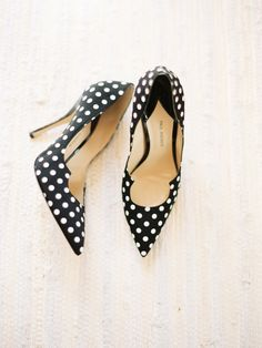 Black & white polka dot pumps! Photo: Lauren Kinsey Photography