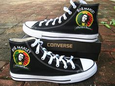 Bob Marley shoes Converse shoes hand painted by Kingmaxpaints