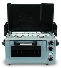 Coleman Propane Stove/Oven - wish they had these when I was camping regularly. Frozen pizza (and much more) in the woods Portable Camping Stove, Camping Oven, Camping Glamping, Camping And Hiking, Camping Meals, Camping Hacks, Minivan Camping, Bus Camper, Kombi Motorhome