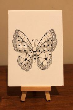 Butterfly Zentangle Inspired Art Card | simplycathy - Drawing on ArtFire