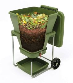 If you have ever become impatient with the composting process, the Hungry Bin Flow-Through Worm Farm may be ideal for you. This vermicomposter relies on worms to transform kitchen waste into high-quality natural fertilizers. As the worms eat the organic materials that you put in the composter, they create castings, or waste products. The castings are a highly concentrated natural fertilizer that can be added to your garden or indoor plants.