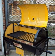 Oil Drum Barbecue With Heavy duty steel and wood frame made to order. Heavy duty barbecue manufactured by myself in the