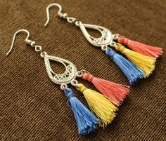 Bohemian Mini Fringe Tassel Colorful Drop/Dangle Gypsy Earrings Handmade #Handmade #DropDangle