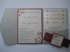 Pocket Fold Wedding Invitation Silver by janeeselitedesigns