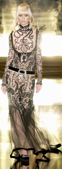 Jean Louis Scherrer at Couture Fall 2005 - this nude and black gown w/ sheer skirt is simply stunning.