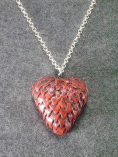 Red dragon heart pendant, polymer clay - pinned by pin4etsy.com