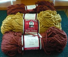 4  Aunt Lydia's  Rug Yarn   2  227 Rust  2  by pittsburgh4pillows, $7.00