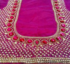 Saved by radha reddy garisa Fancy Blouse Designs, Sari Blouse Designs, Blouse Patterns, Sewing Patterns, Stone Work Blouse, Mirror Work Blouse, Applique Designs, Embroidery Designs, Embroidery Works