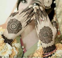 Beautiful identical round mehndi/henna for the back of the hands