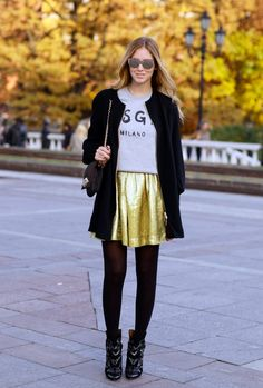 Black tights, golden skirt and grey top