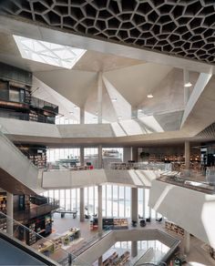 Oslo's long-awaited Deichman Bjørvika central library, which stands alongside the Snøhetta-designed opera house on the city's waterfront, has opened to the public in Norway. Interior Architecture, Interior Design, Central Library, Atrium, Oslo, Contemporary, Building, Atelier, Design Interiors