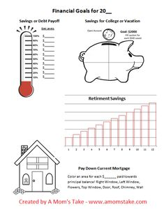Free Printable - Work on your Financial Goals for the Year! Print and fill in through the year to see your progress! Debt, Savings, Money guide