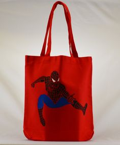 Spiderman in Action Large Tote Bag Gift Bag Book Bag Toy Bag Library Bag Halloween Bag Trick or Treat Bag  Super Hero Marvel Comics