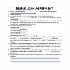 Simple Loan Contract Template , 26+ Great Loan Agreement Template , Loan  Agreement Template Is