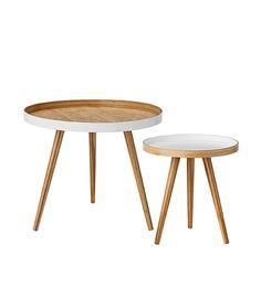 Zestaw dwóch bambusowych stolików kawowych z serii Bloomingville.