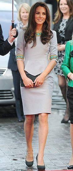 love the green detail - Kate Middleton in Matthew Williamson
