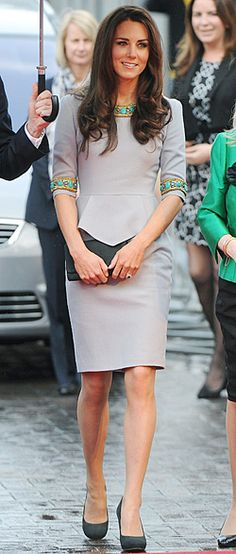 love the green detail - Kate Middleton in Matthew Williamson