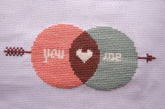 Free cross stitch pattern of you and me love
