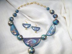 Indian Summer Polymer clay Necklace And Earrings Set by RedHotFusion on Etsy