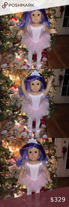 American Girl EMILY DRESS PURPLE Christmas Holiday outfit  NIB NO DOLL OR SHOES