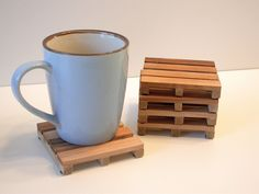 Reclaimed Wood Pallet Coasters Channel the Construction Industry - foodista.com