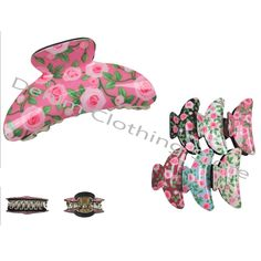"""6 Hair Snap Clamp Clip Claw Print Flower Barrette Scallop Pin Ties Updo Lot 3.5"""""""