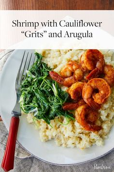 "Shrimp with Cauliflower ""Grits"" and Arugula via @PureWow"