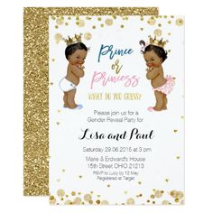 Prince and princess Gender Reveal invite Gold. Blue or Pink Gender Reveal invitation. He or She gender reveal party invite with gold glitter color. 50th Birthday Party Invitations, Gender Reveal Party Invitations, Princess Invitations, Gold Invitations, Baby Shower Invitations, Invitation Cards, Invite, Glitter Gender Reveal, Baby Shower Gender Reveal