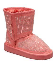 Coral Rhinestone Boot