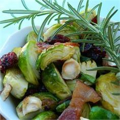 Warm Brussels Sprout Salad with Hazelnuts and Cranberries - Allrecipes.com