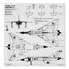 Avro Arrow Blueprints Print