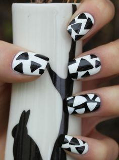 "Just check out the unique and also the latest ""Black and White Nail Art Designs"". It is seen that the combination of black and white nail art has all the tim. Black And White Nail Designs, Black And White Nail Art, Black Nails, White Art, Fancy Nails, Pretty Nails, Nail Art Designs, Nails Design, Design Design"